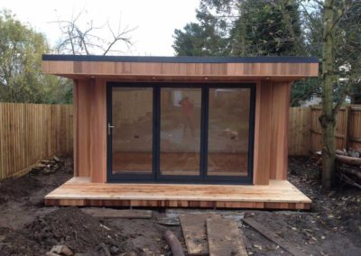 Newly built garden room with folding door