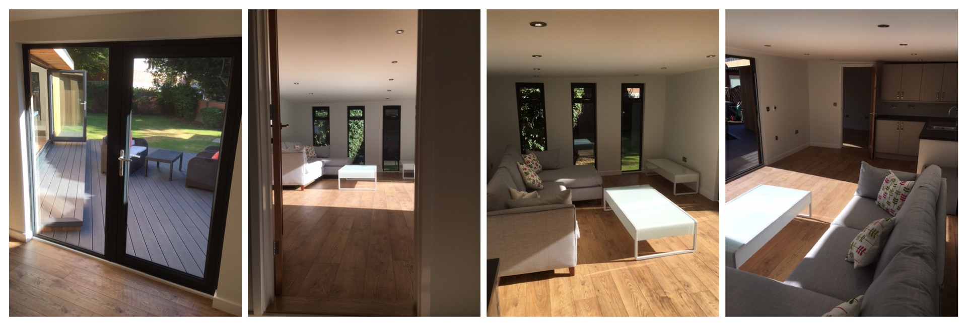 multiple images from inside large garden room