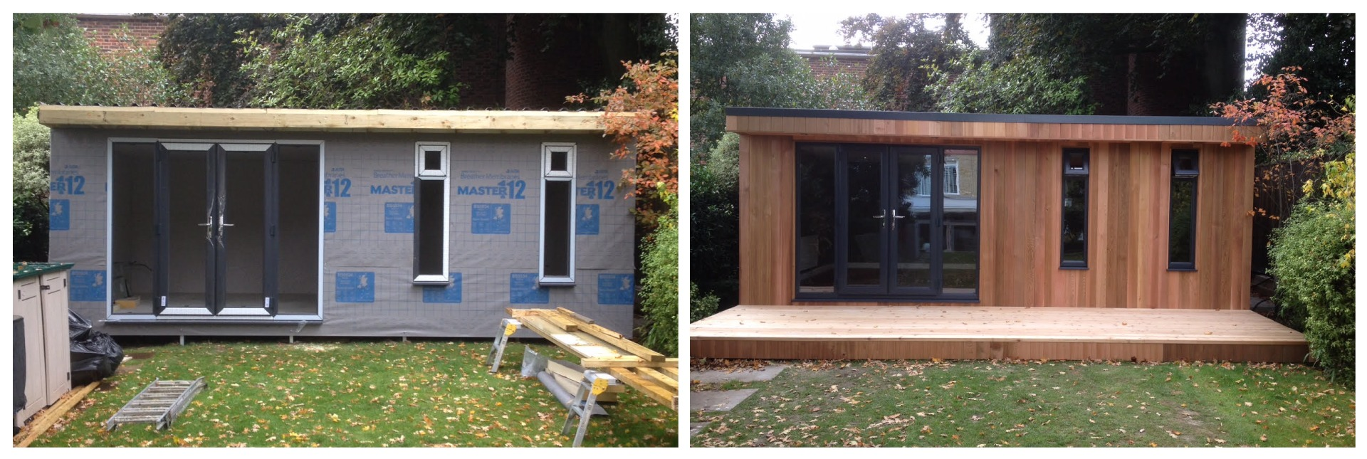 garden room under construction and completed
