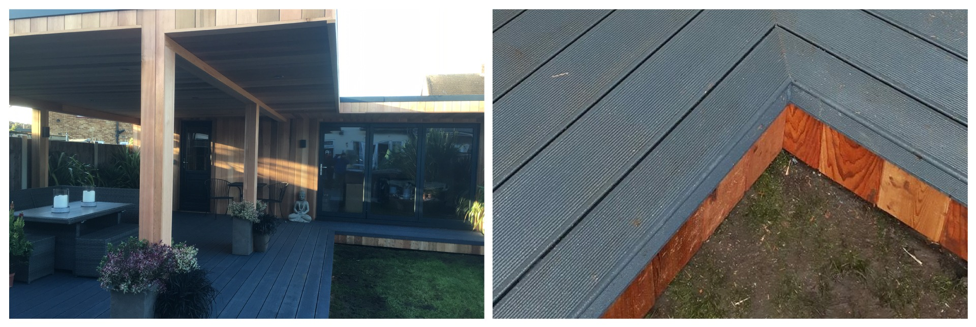 garden room with large decking and closeup of decking