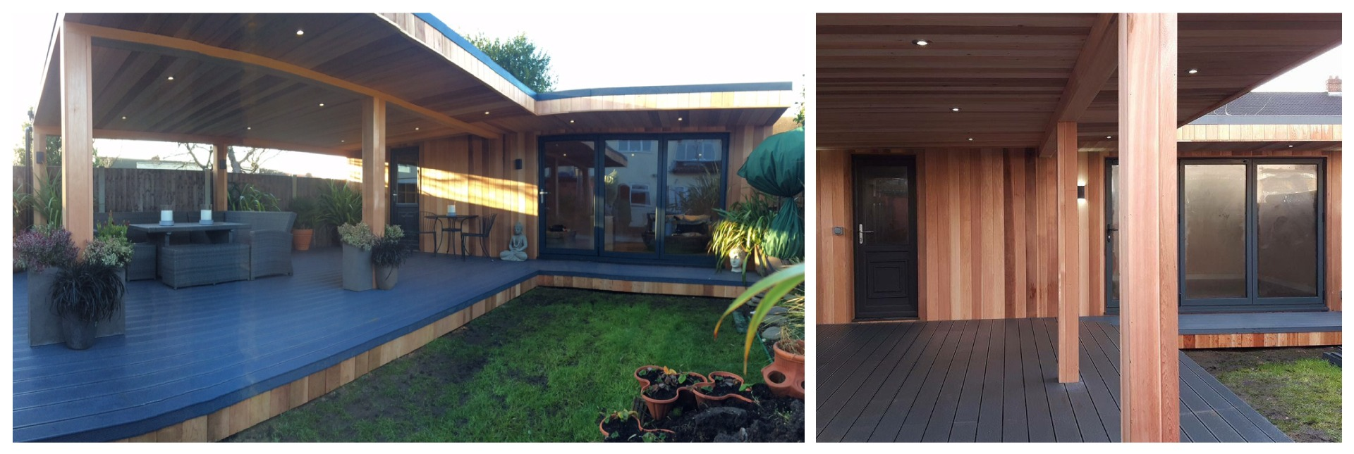 large garden room with large deck and canopy