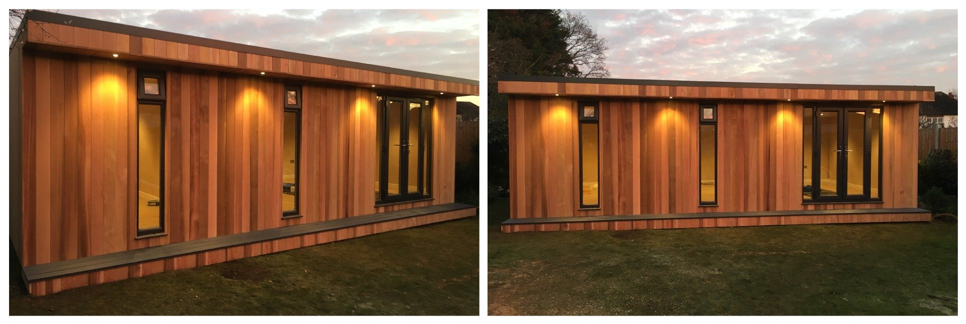garden room with double doors front and angled