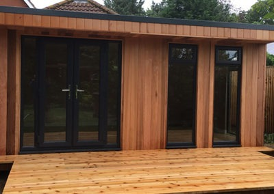 garden room front with deck