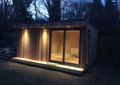 Garden room with sliding door and spotlights