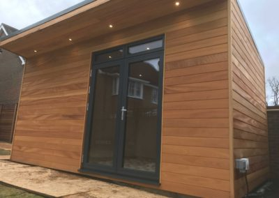 front of garden room with outside power socket