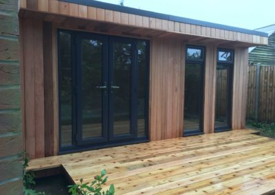 garden room with deck