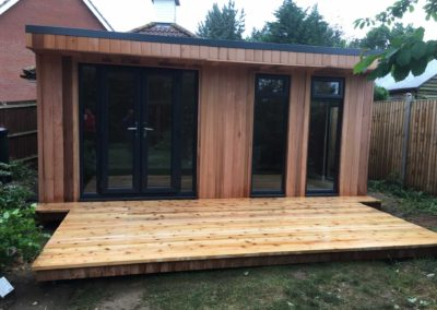 garden room with large deck