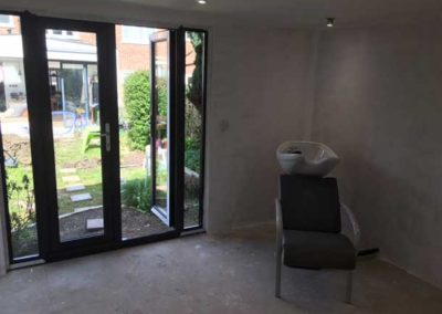 inside garden room salon showing double doors
