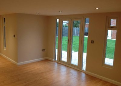 Inside garden room with double doors