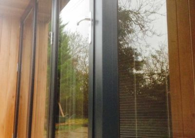 Closeup of garden room with blinds