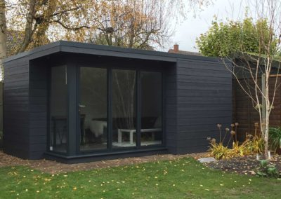 Grey garden room with large windows