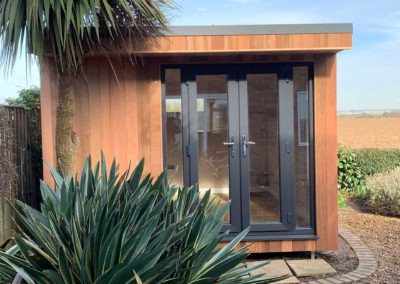 Garden room music room with double doors