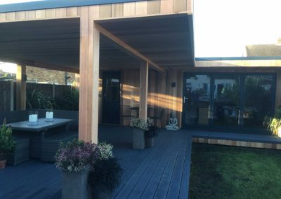 Garden room with decorated decking