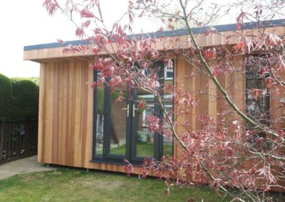 Garden room double doors behind tree branch