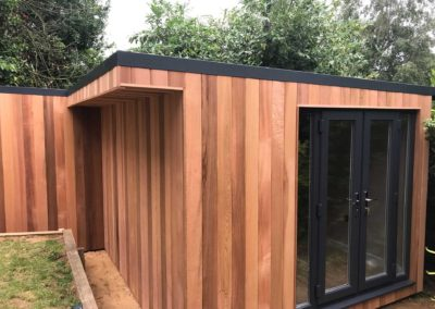 Side of staggered shaped garden room