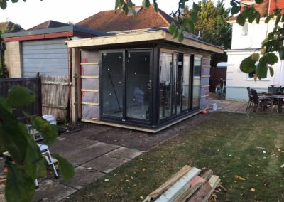 garden room under construction with roof