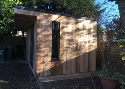 Side of garden room on concrete base