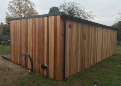 Rear of large garden room with external power points
