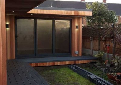 Garden room side with grey deck
