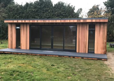 Front of large garden room with large windows