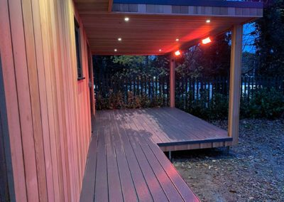 Side of large deck with canopy heaters