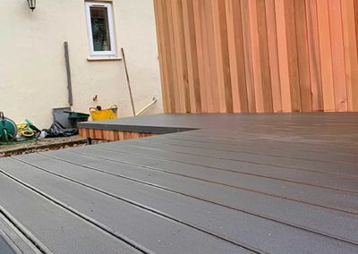 Grey deck for garden room